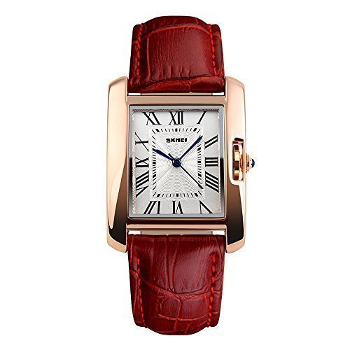Womens Fashion Numerals Golden Dial Leather Analog Quartz Watch Red - 5