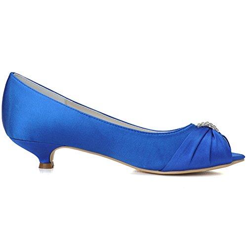 Loslandifen Mujeres Peep Toe Satinado Mediados De Talones Vape Plisado Con Diamantes De Imitación Boda Zapatos De Novia Azul