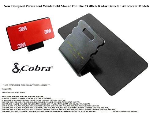CBT3M Improved 3M Taped Permanent Windshield Mount for Most Models of Cobra Radar Detectors