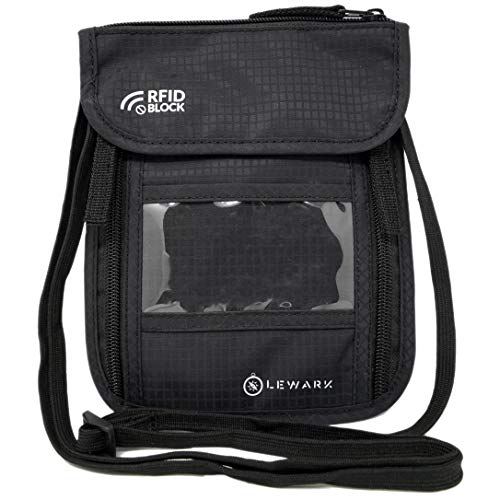 Lewark Neck Travel Wallet Pouch with RFID Blocking Passport Holder