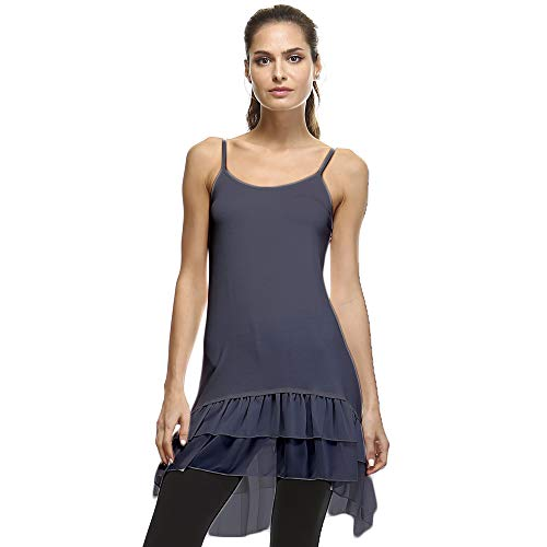 Cotton-Blend Layering Top Extender Camisole and Chiffon High-Low Extenders (Small/Medium, Charcoal Chiffon)