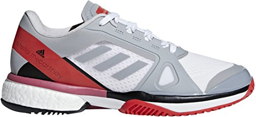 Adidas Shoes Tennis Barricade (adidas aSMC Barricade Boost Shoe Women's Tennis 8.5 Mid Grey-Core Red)