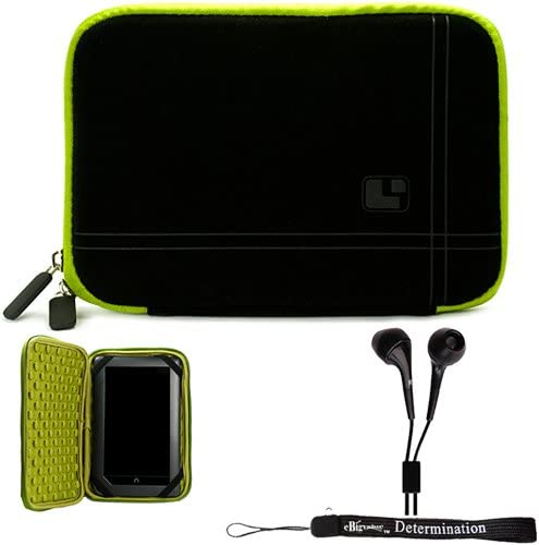 Green Black Limited Edition Stylish Sleeve Premium Cover CaseAerotechnology Protection For Barnes and Noble NOOK COLOR eBook Reader Tablet and Hand Strap and Earbuds