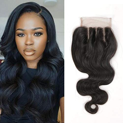 (Brazilian Boby Wave 4x4 Three Part Lace Closure Virgin Human Hair 100% Unprocessed Human Hair Frontal with Baby Hair Frontal Closure Natural Color 14 Inch(14''4X4 closure, Body Wave))