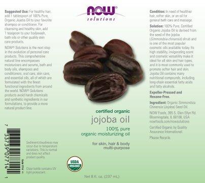 NOW  Organic Jojoba Oil,8-Ounce