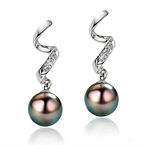 CHAULRI Elegant AAAA Quality Genuine 8.5-9.5mm Tahitian Black Pearl Dangle Drop Earrings - Birthday Anniversary Jewelry Gifts for Women