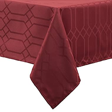 Benson Mills Chagall Spillproof Fabric Tablecloth, 60 by 120 , Rio Red