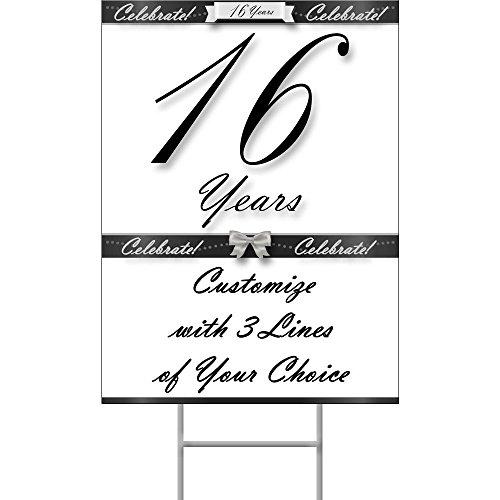 16 Years Classy Black Yard Sign (Each)
