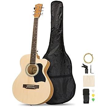 Artall 39 Inch Handmade Solid Wood Acoustic Cutaway Guitar Beginner Kit with Tuner, Strings, Picks, Strap, Matte Natural