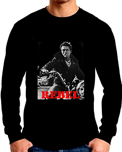 - James Dean On His Motorcycle Long Sleeve T shirt Black