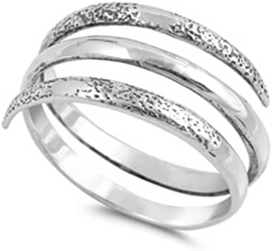 Sterling Silver Hammered Wrap Coil Bypass Adjustable Thumb Ring