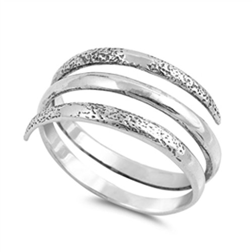 silver coil ring - 7