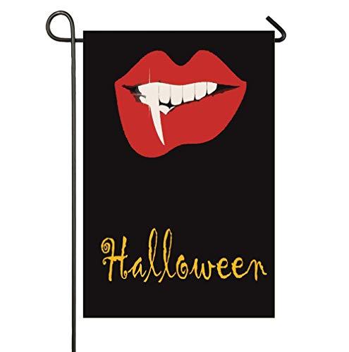 (SmallGardenflagMim Halloween Theme Vampire Lip Horror Painting Garden Yard Flag 12