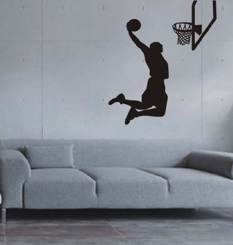 Large-Easy instant decoration wall sticker wall mural Sport Basketball-Basketball shoot 22inchby39inch