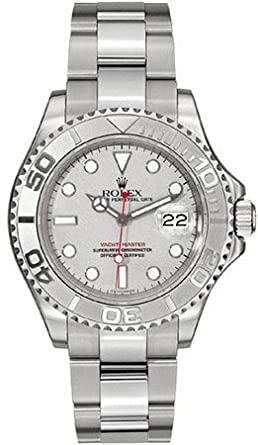 Rolex 16622 Oyster Perpetual Yacht,Master Steel with Platinum Mens Watch  Silver Dial Oyster Perpetual Calendar Sapphire Crystal Serial Number