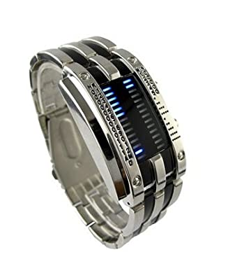 Design Long Lasting Shockproof Army Style LED Watch with Alloy Bracelet and 28 Blue LED Lights for Time & Date Display