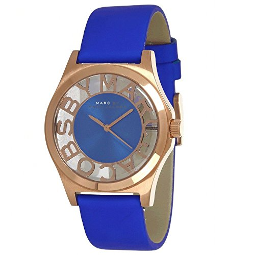 Marc by Marc Jacobs Henry Blue Cut-out Dial Rose Gold Ion-plated Ladies Watch MBM1244