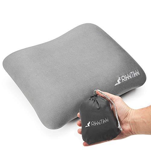 RikkiTikki Inflatable Travel Pillow - Camping Outdoor Backpacking Pillow - Portable Blow Up Ultralight Air Pillow - Inflating Comfortable Compact Lightweight Compressible Pillow for Women Men