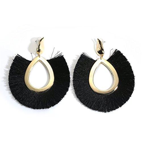 Womens Modern Jewel Vintage - MOOCHI Black Women's Bohemian Tassel Hanging Fringe Fashion Oval Vintage Earrings