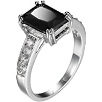 elegantshop Charming Women 925 Silver Black Onyx Ring WeddingEngagement Jewelry Size 5-12 (6)