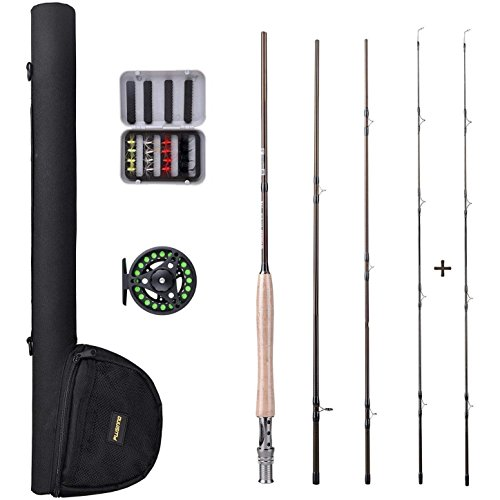 PLUSINNO Lightweight Ultra Portable Fly Fishing Rod and Reel Graphite Pole with Toray Carbon Fiber Blanks and Chromed Stainless Steel Snake Guides 4-Piece with Rod Case (5-6#) (Graphite Steel Rod)