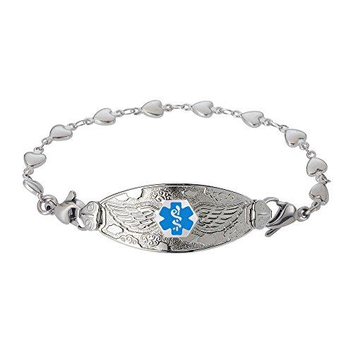 Divoti Custom Engraved Angel Wing Medical Alert Bracelet -Heart Link Stainless -Light Blue-8.0
