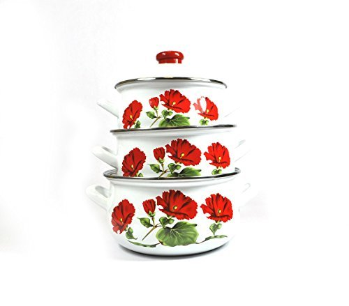 Uniware Super Quality Premium Enamel Cookware Set (6 Pieces Set, Red Rose Pattern)