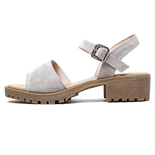 AIYOUMEI Damen Wildleder Offen Chunky Heel Sandalen mit 4cm Absatz Bequem Sommer Schuhe Grau