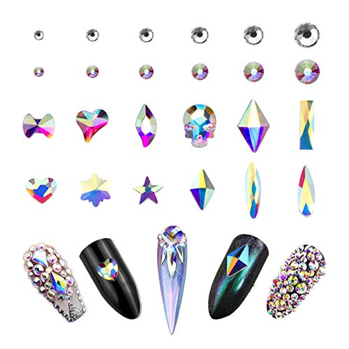 AB Crystal Rhinestones Set (1440+120 pcs) Round & Multi-Shape AB Glass Rhinestone, Nail Art Stone Gems Design Kit With Tweezers And Rhinestone Picker Pencil
