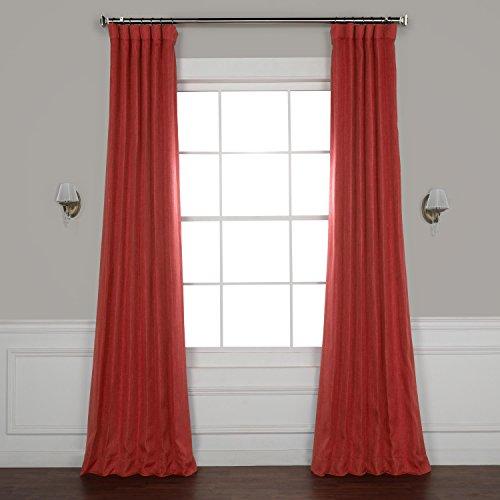 - HPD HALF PRICE DRAPES BOCH-LN1851-84 Faux Linen Blackout Room Darkening Curtain, 50 X 84, Cardinal