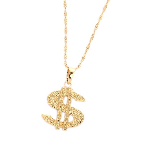 18K Gold Plated United States Dollar Money Sign Pendant Necklace -