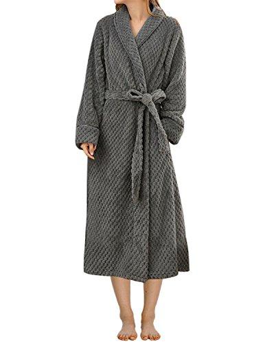 LAPAYA Women's Long Bathrobe Shawl Collar Full Length Soft Warm Plush Fleece Robe, Grey, Small