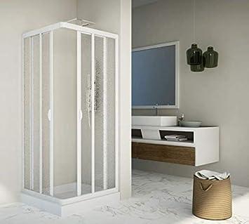 mampara de ducha deslizante de acrílico y PVC Blanco h.185 cm DOS lados angular Lucy: Amazon.es: Bricolaje y herramientas