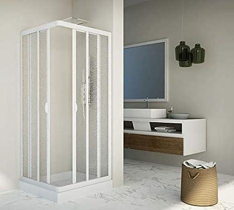 mampara de ducha deslizante de acrílico y PVC Blanco h.185 cm DOS ...