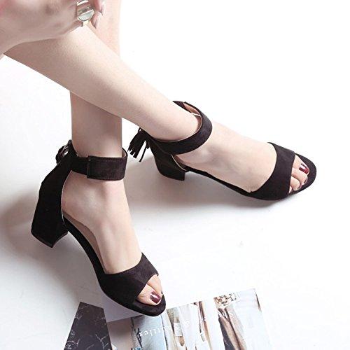 Easemax Donna Elegante Finta Pelle Scamosciata Frange Peep Toe Caviglia Polsi Medio Blocco Tacco Sandali Con Cerniera Nera
