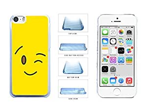 Bright Yellow Wink Smiley Face Clear Plastic Phone Case Back Cover Apple iPhone 5c