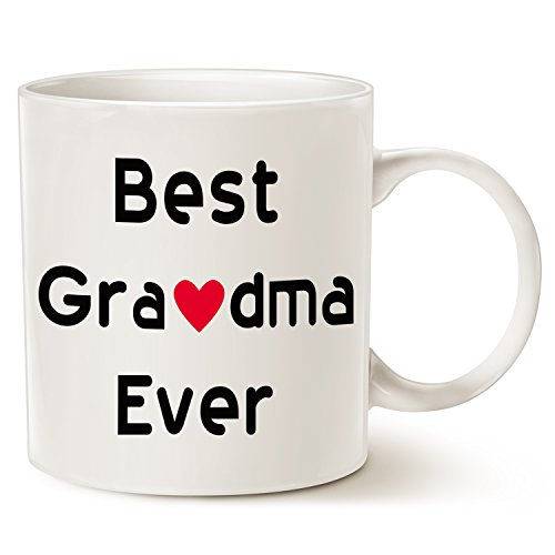 Christmas Gifts Best Grandma Coffee Mug - Best Grandma Ever - Unique Christmas or Birthday Gifts Idea for Grandma Grandmother Grandmama Porcelain Cup White, 14 Oz by LaTazas