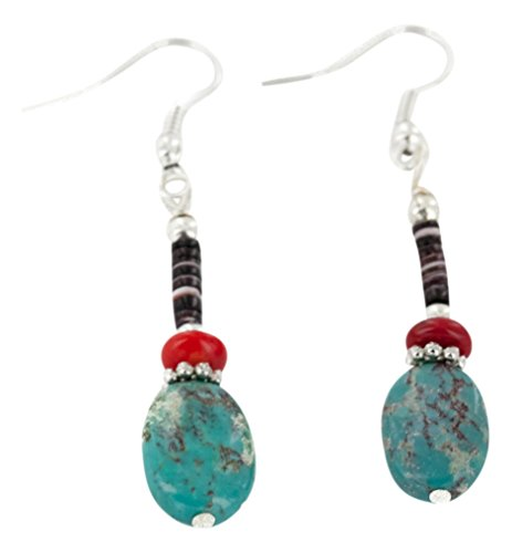 Native-Bay Authentic Navajo Made by Charlene Little Silver Hooks Dangle Natural Turquoise Coral American Earrings