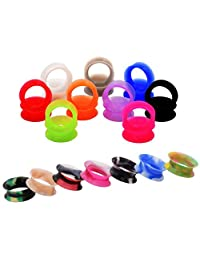 "D&M Jewelry 32 Pcs Mixed Colorful Thin Silicone Acrylic 2g-3/4"" Tunnel Plug Expander Piercing"