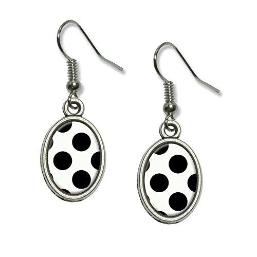 Mega Polka Dots Black White Novelty Dangling Drop Oval Charm Earrings