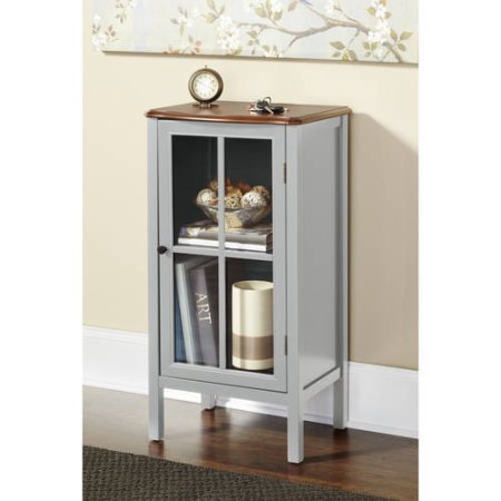 Walnut Painted Cabinet - 10 Spring Street Hinsdale 1-Door Cabinet, Gray
