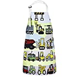 Sevenstars Kids Aprons, Vehicles in Cartoon Style Boys Girls Baking Apron, Excavator Loader Apron for Toddlers Children, Waterproof Adjustable Kitchen Apron for Gardening Crafting Cooking