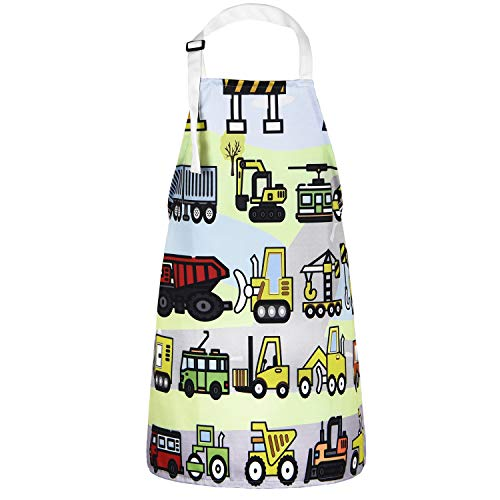 Apron Boys - Sevenstars Kids Aprons, Vehicles in Cartoon Style Boys Girls Baking Apron, Excavator Loader Apron for Toddlers Children, Waterproof Adjustable Kitchen Apron for Gardening Crafting Cooking