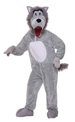Forum Novelties Men's Storybook Big Bad Wolf Plush Mascot Costume, Gray, (Wolf Costumes For Adults)