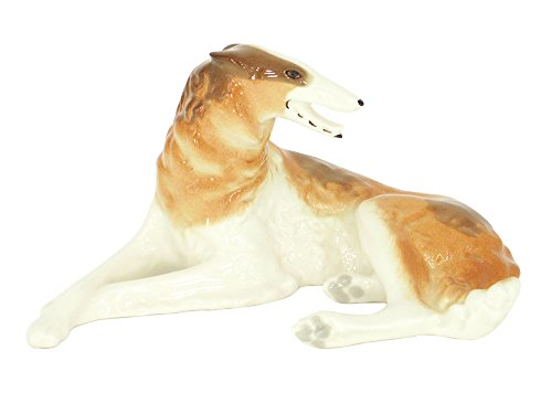Figurine Borzoi (Lomonosov Imperial Porcelain Collectible Realistic Figurine Dog Doggie Assorted Collection (Russian Borzoi Greyhound))