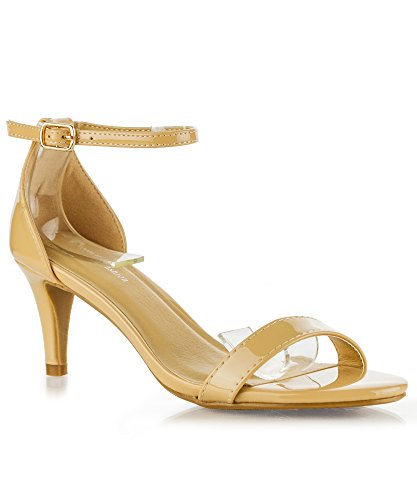 RF ROOM OF FASHION Fashion D'Orsay Ankle Strap Kitten Heel Dress Sandal - Essential Mid Heel Open Toe Vegan Pumps - Beige Patent - Kitten Heel Sandals
