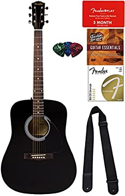 Fender FA-115 Dreadnought - Guitarra acústica, color negro con ...
