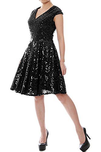 Schwarz Neck Cap Party Short Bridesmaid Sequin V Gown MACloth Formal Women Dress Sleeve fwSAx71Z
