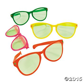 (12) Cool JUMBO Plastic Sunglasses ~11'' Awesome Assorted Tropical Colors Spectacles ~ Fun Party Favors ~ Pool Birthday Beach Party Giveaways ~ Gag Gift ~ Clown Prop Accessory Photo Silly - Awesome Glasses