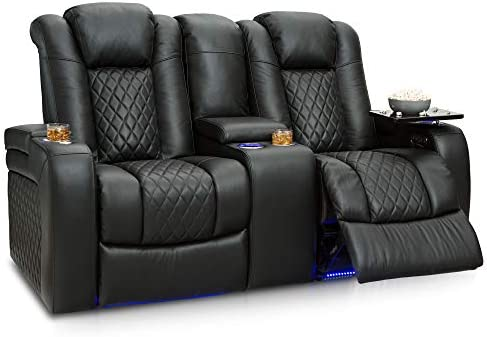 Seatcraft Anthem Home Theater Seating Leather Power Recline Loveseat with Center Storage Console, Powered Headrests, Storage, and Cupholders Black